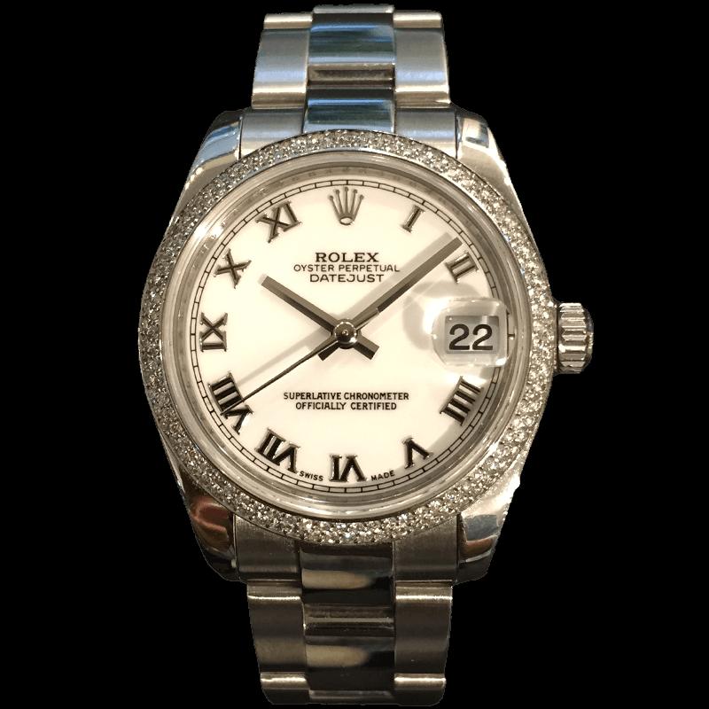 שעון יוקרה לנשים - רולקס דייטג'אסט נשים 178240 מיד סייז 31ממ בייזל יהלומים